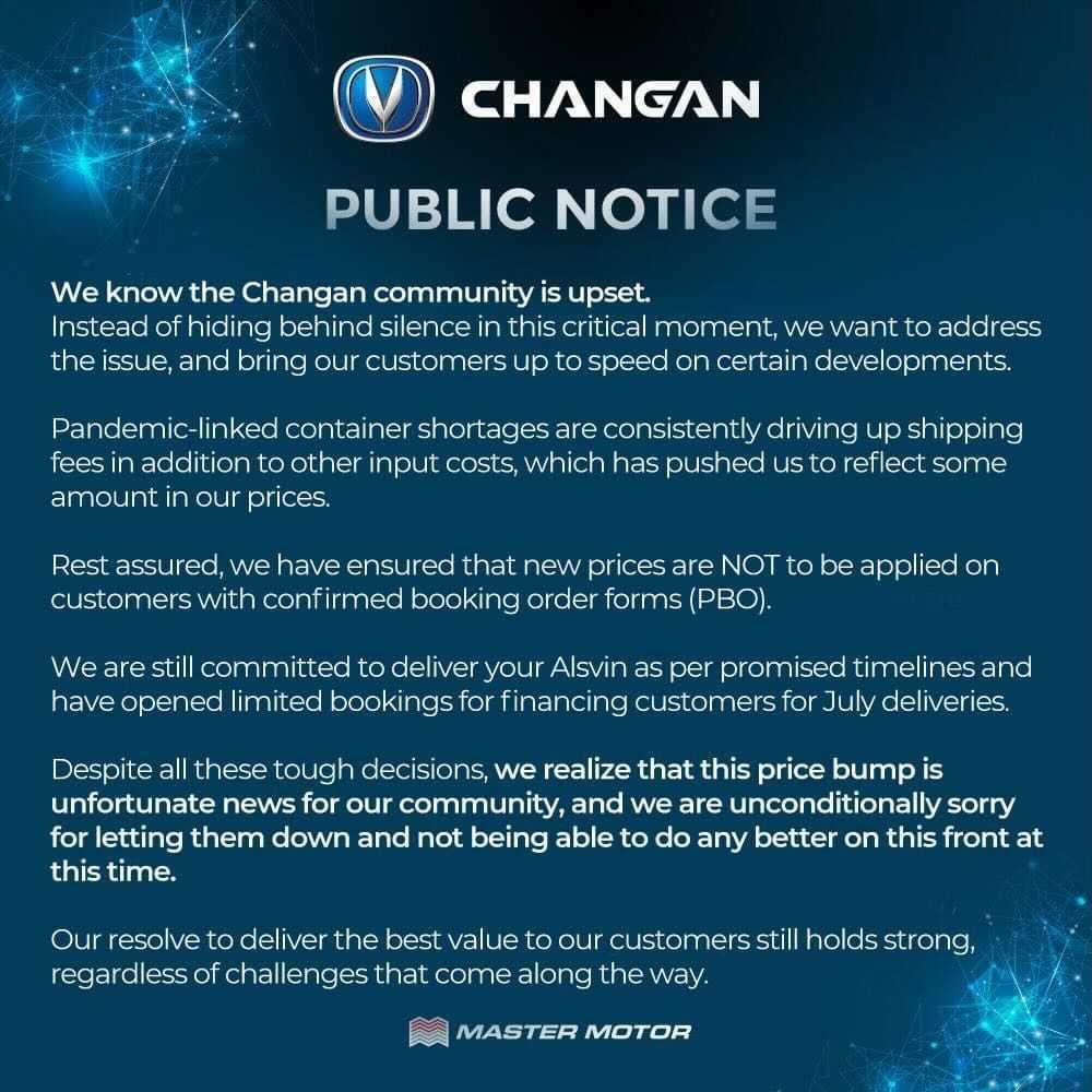 Changan Explain the reason behind the Price hike