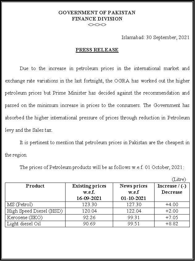 GOVT increased fuel prices up to Rs 8.82 in October 2021